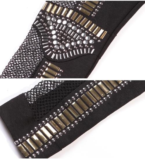 KDQ4 Fishnet Bling Bead Embellished Bullet Paneled Leggings Tights YLG 0040 | eBay
