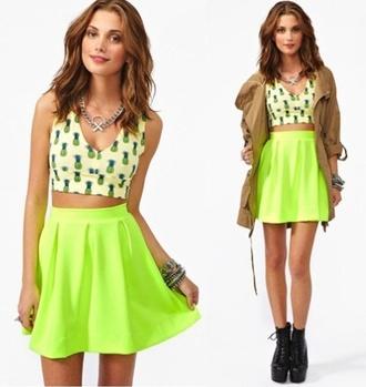 shirt outfit pineapple neon skater skirt skirt