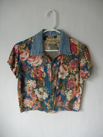 top crop crop shirt floral pattern florals collar denim vintage retro indie roses