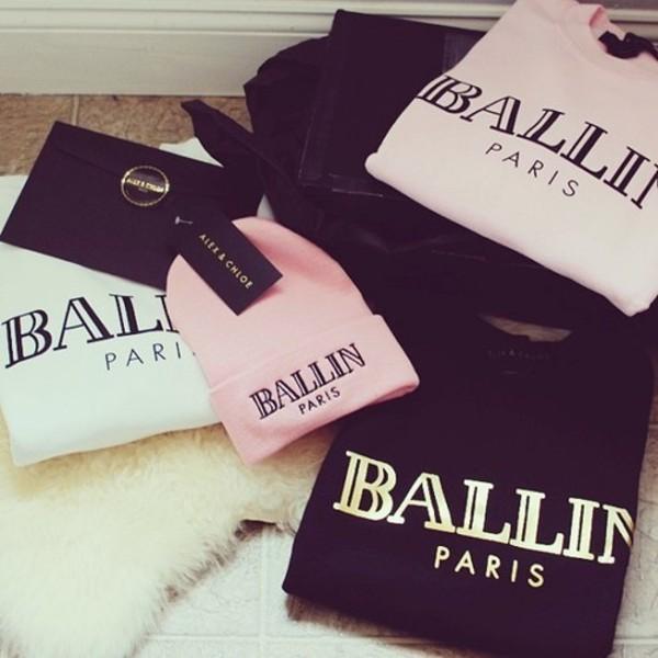 sweater pink ballin paris white black gold hat oversized sweater alex and chloe alex & chloe ballin paris balmain
