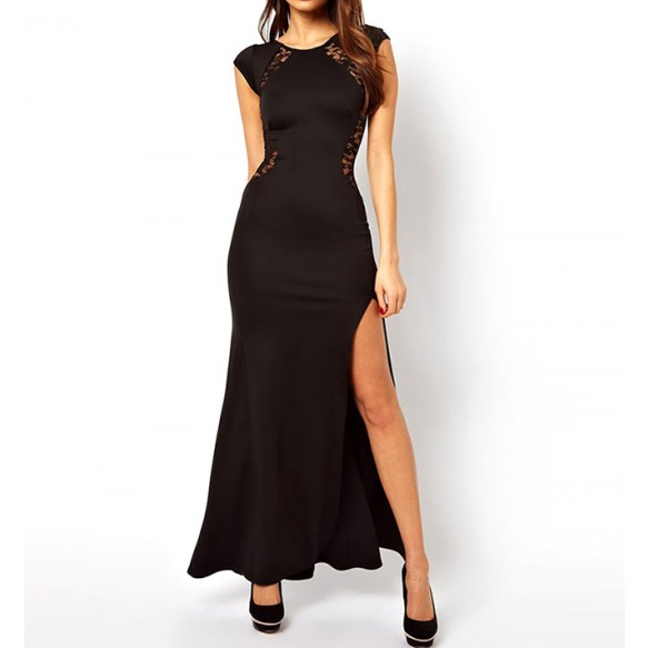 Cap Sleeved Maxi Dress With Thigh Split And Lace Paneling at Style Moi