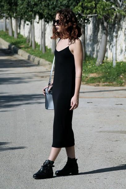 babes in velvet blogger black dress ankle boots dress shoes bag