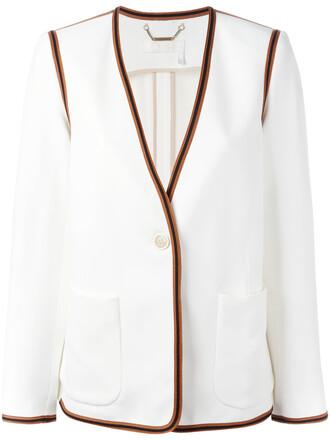 blazer women white silk jacket