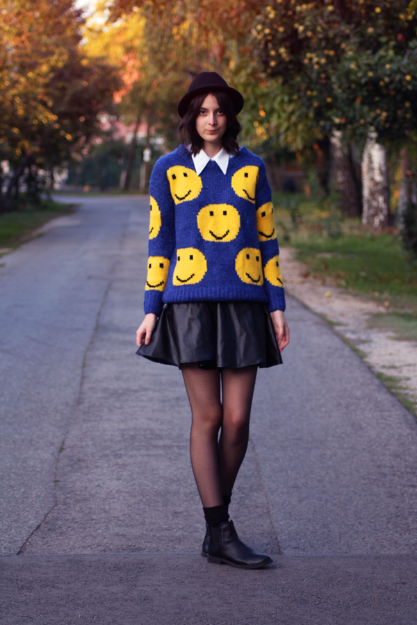 mes memos sweater shoes skirt hat