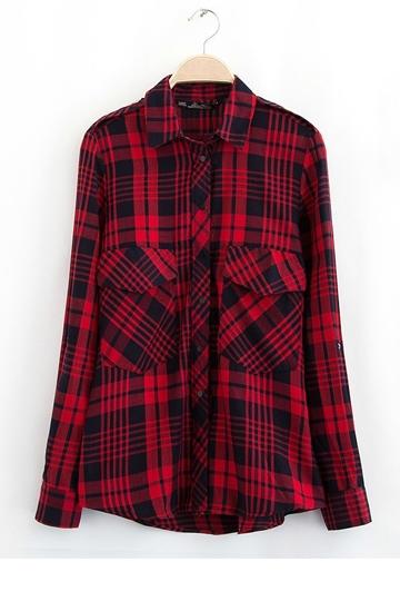 Classical Red Plaid Cotton Shirt [FDBI00417]- US$24.99 - PersunMall.com