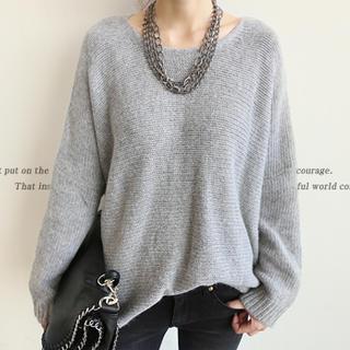 Angora Wool Blend Oversized Sweater, Gray , One Size - NANING9   YESSTYLE
