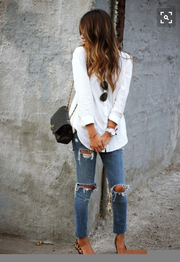 jeans ripped jeans fashion shirt destroyed ankle denim blouse