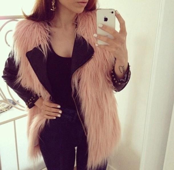 jacket faux fur vest fur vest pink selfie fur vest faux fur vest