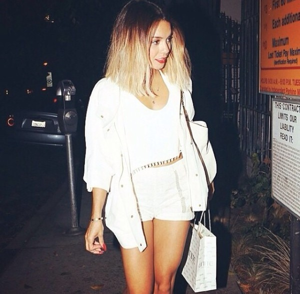 t-shirt vanessa hudgens white top tassel crop tops white top pom pom shorts girly shorts coat