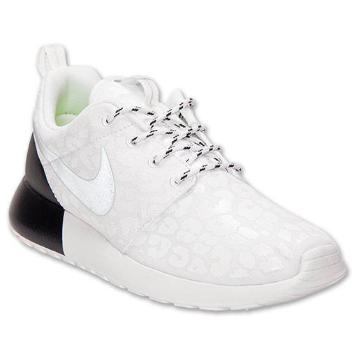 Women's Nike Roshe Run Premium Casual Shoes  FinishLine.com   White/Reflective/White/Black