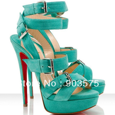 free shipping red bottom mint beige suede platform ankle strap buckled high heel lady women's sandals-in Sandals from Shoes on Aliexpress.com