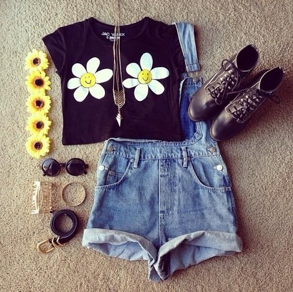 t-shirt daisy sunglasses shirt hat