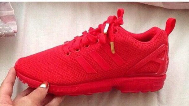 shoes trainers sneakers mono red adidas flux gold tips bright sneakers