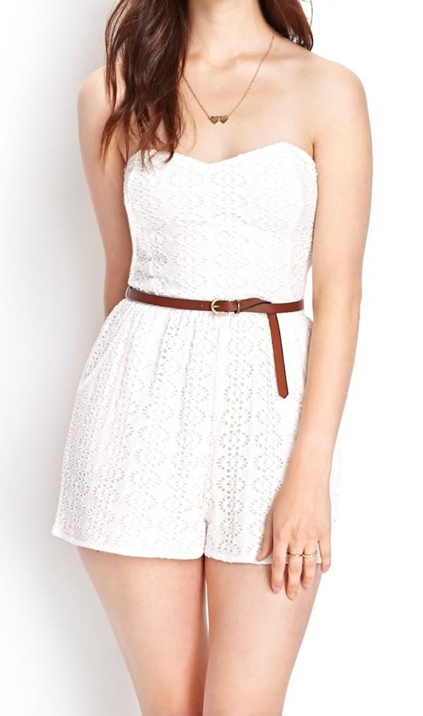 jumpsuit jumpsuit jumpsuit white white jumpsuit lace lace jumsuit lace jumpsuit crochet forever 21