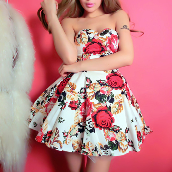 Rose Print Dress on Luulla