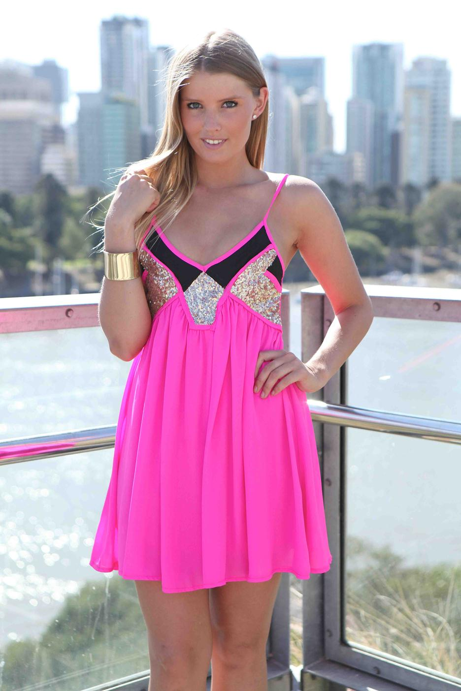 Pink Sequin Dress - Pink & Black Sequin Embellished   UsTrendy