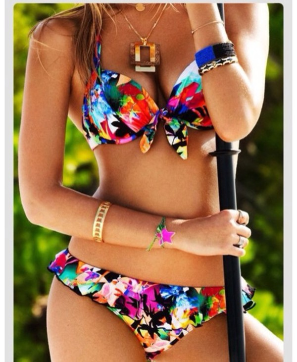 swimwear floral summer floral bikini rainbow and colorful