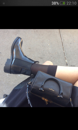 shoes bag saint laurent shoulder bag black boots black boots ankle boots black ankle boots grunge heels style fashion pretty chelsea tumblr cute shiny shorts classic chelsea boots cute high heels socks handbag tumblr shoes black shoes black socks long socks yves saint laurent black bag girly hipster all black everything