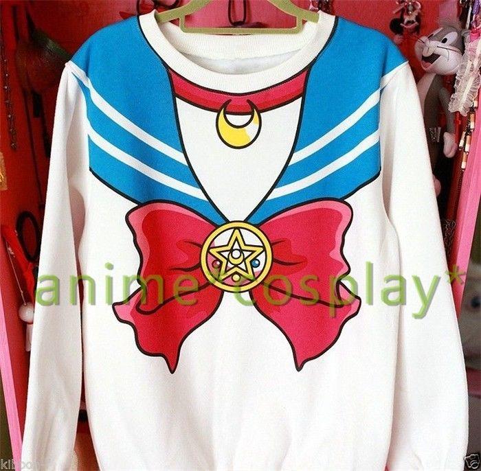 Sailor Moon Harajuku Sweater Fake Faux Top Cute Kawaii Cosplay Japan Anime White | eBay