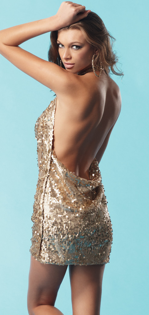 Gold Sexy Dress - Gold Sequin Mini Halter Dress | UsTrendy
