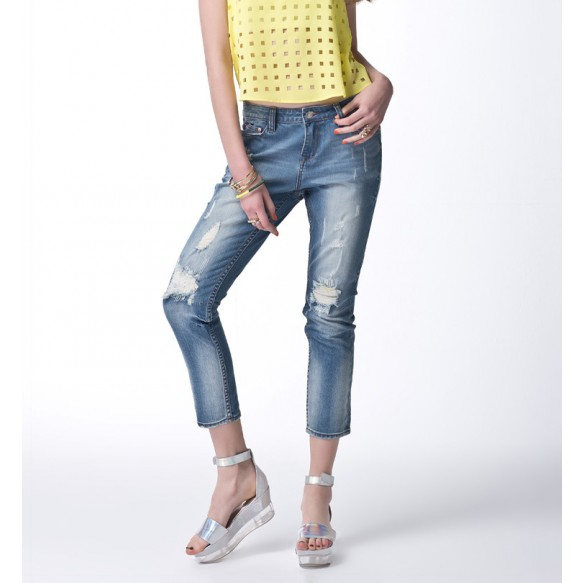 Distressed Boyfriend Jeans With Cropped Length at Style Moi