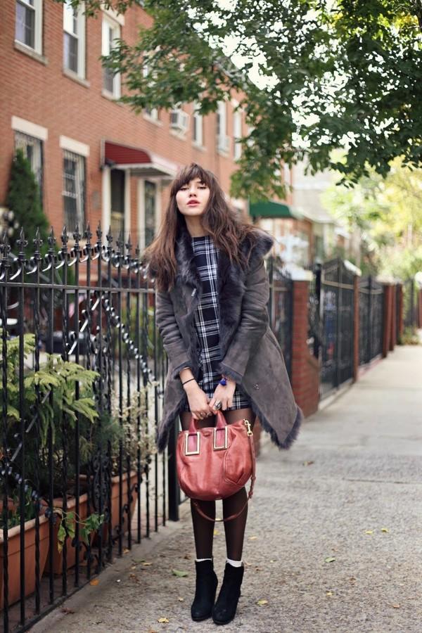 natalie off duty coat dress bag jewels shoes