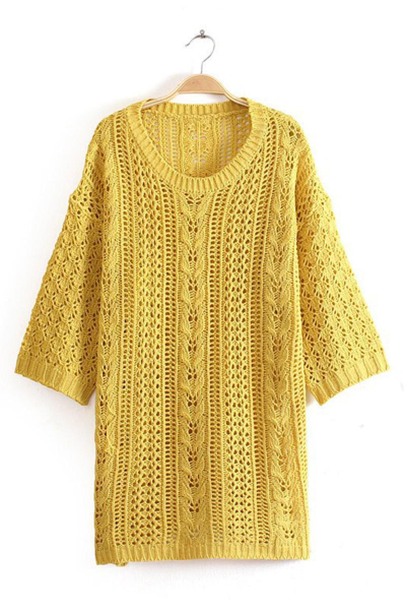 Three Quarter Sleeve Hallow Pullover Knitted Sweater,Cheap in Wendybox.com