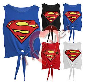 Womens Ladies Superman Superwoman Tie Front Viscose Jersey Crop Top Vest Tee | eBay