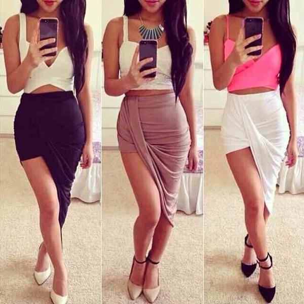 skirt tank top shoes shirt white black beige draped skirt side slit beige skirt skirt cute