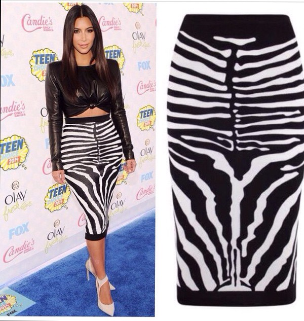 Look with Zebra Skirt Cardigan