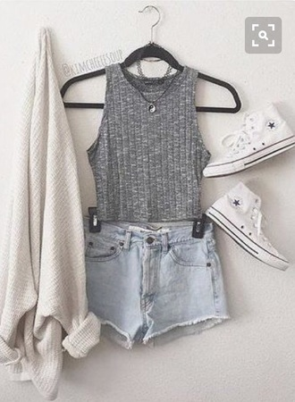 sweater neutral shorts beige white converse crop tops tank top tumblr summer casual cardigan
