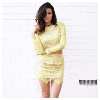twin set top skirt yellow lace dress