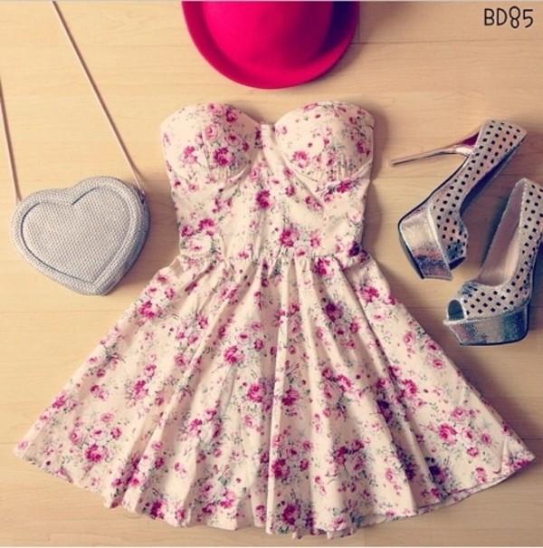 dress cute dress floral floral dress pretty fashion summer summer dress high heels hat bag heart silver handbag purse cross body cute girly adorable af
