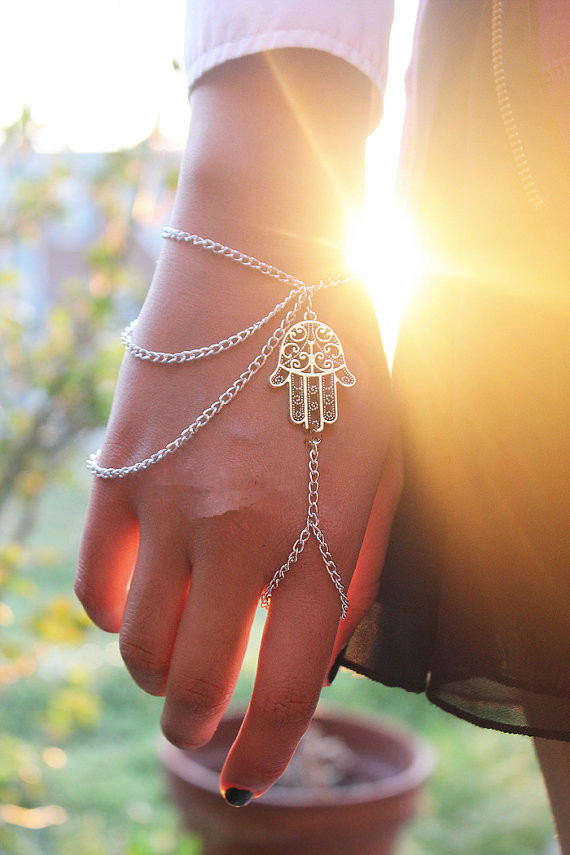 Asymmetric Men Women Hamsa Fatima Bracelet Finger Ring Slave Chain Hand Harness | eBay