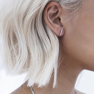 jewels line modern silver earrings hipster wishlist our favorite accessories 2015 short hair jewelry bar earrings minimalist minimalist jewelry ear piercings stud earrings stud bar hair accessories fashion these earing clean tumblr silver jewelry grey grey hair white hair