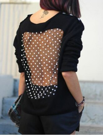 sweater open back polka long sleeves stylish back see-through spliced long sleeve pullover sweatshirt for women fashion trendy black mesh see through rosegal-jan