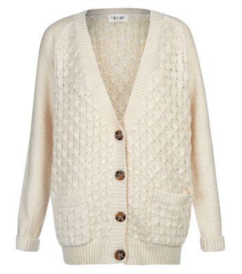 Cream Honeycomb Knit Longline Boyfriend Cardigan
