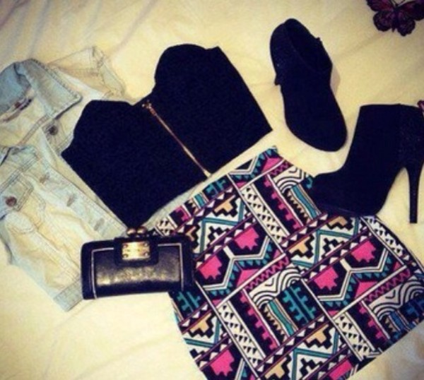 skirt colorful shapes black yellow pink jacket shoes tank top