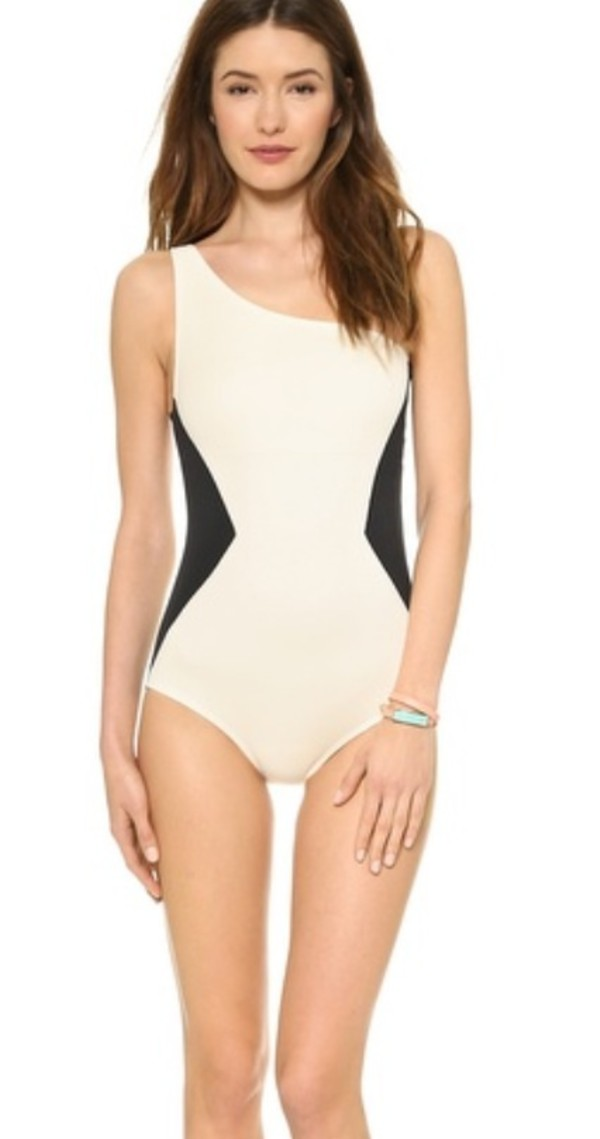 swimwear marc jacobs bloomingdales geometric triangle one shoulder white black one piece swimsuit one piece