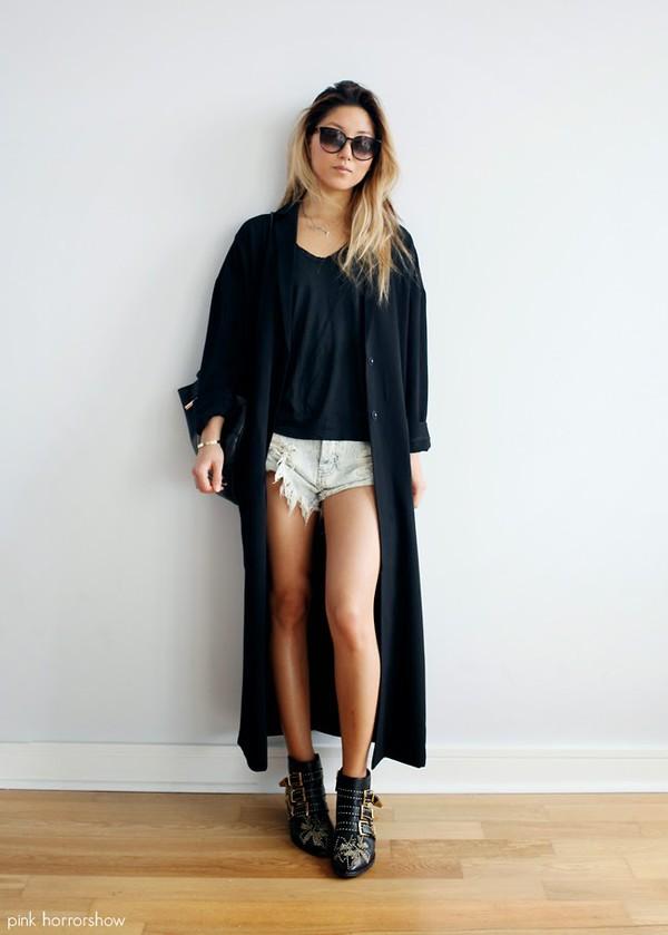 pink horror show coat shorts bag sunglasses shoes