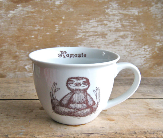 Mug Namaste Baby Sloths Tea cup Sloth by SecondChanceCeramics