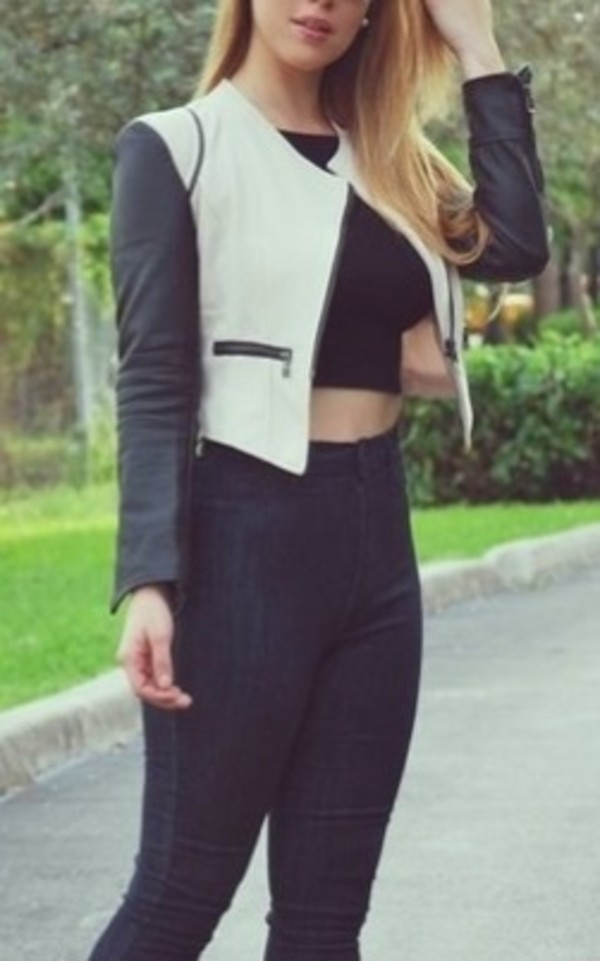 jacket black white shoes top tank top jeans