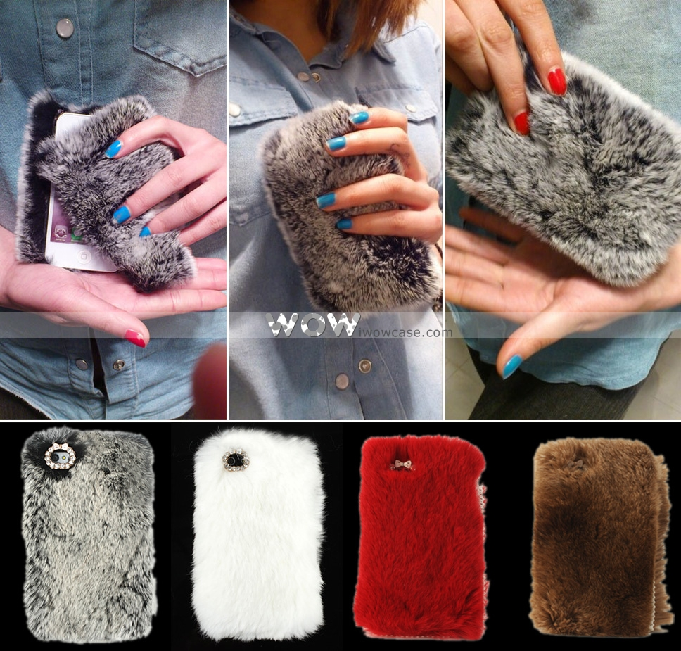 WOWCase, Princess Series Luxury Fluffy Cony Fur iPhone 5 Case-Gray [043676] : iPhone Case, iPad Case iwowcase.com
