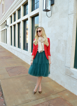 fash boulevard blogger jacket bag jewels scarf tulle skirt red red jacket