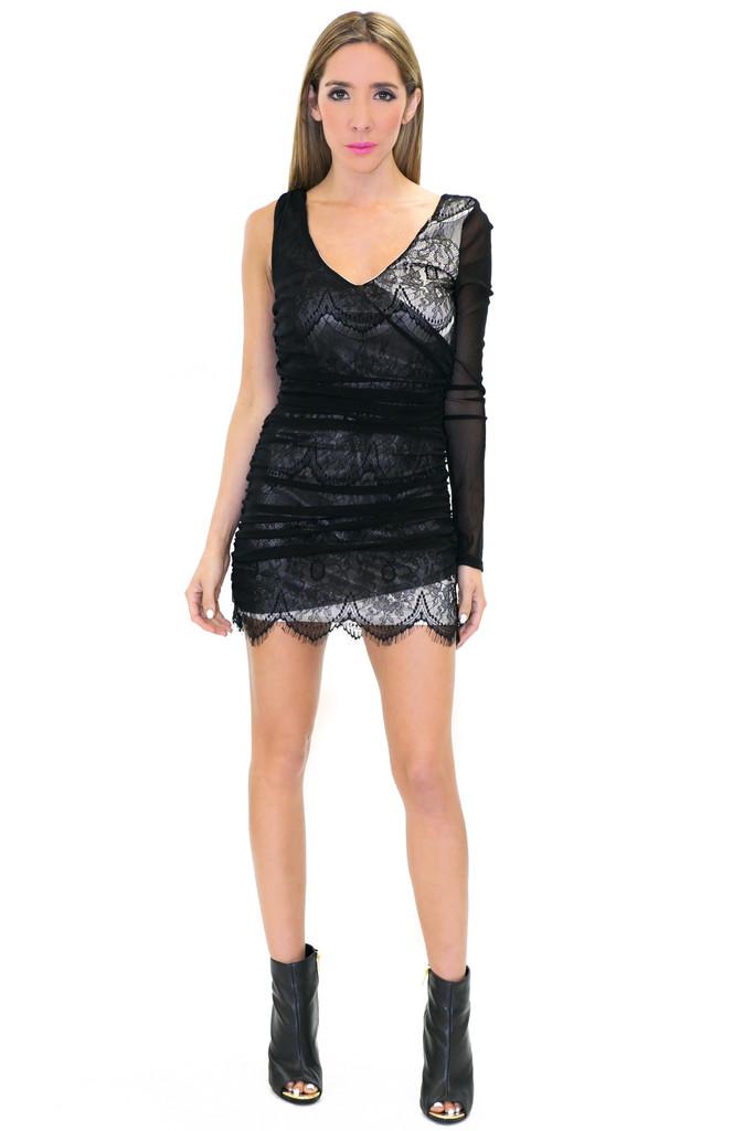 ONE SHOULDER LACE DRESS - Black/Cream   Haute & Rebellious