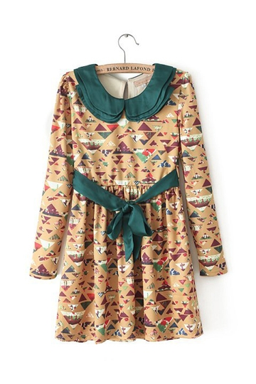 Retro Flower Print Dress with Layers Collar [FXBI00479]- US$ 31.99 - PersunMall.com