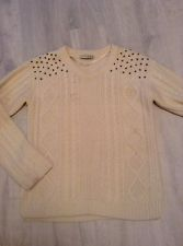 Cream Chunky Knit Jumper with Stud Detail Size 8 | eBay