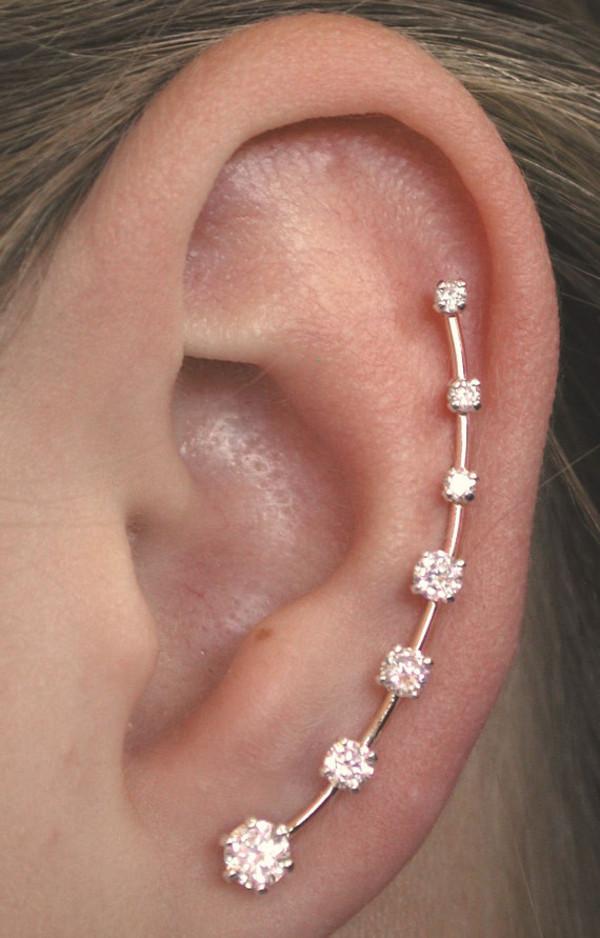 jewels earrings earrings gold rhinestones piercing silver helix piercing