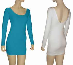 Junior Cotton Spandex Long Sleeve Low Back Mini Dress | eBay