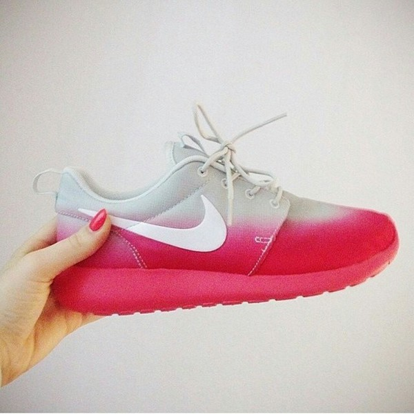 shoes nike ombre pink grey